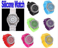 Wholesale Classic Stylish Silicon Crystal Men and Women Wrist Jelly Watch Colors Choice Freeshippin