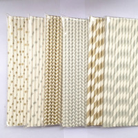 Wholesale gold silver in set drinking straws bar and kitche paper straws Holiday articles