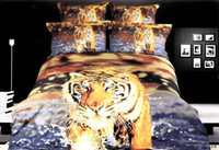 100% Cotton Home Adult 3D Tiger comforter bedding set blue water queen comforters sets bedspread bedclothes bed linen sheet duvet quilt cover print oil painting