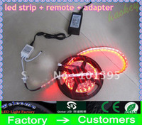 Wholesale LED Strip light M SMD RGB Flexible WATERPROOF With key IR Remote Controller With V A Power Supply Adapter V V via FEDEX