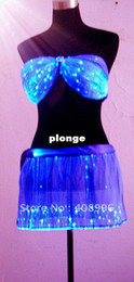 Wholesale bra set Sexy optical fiber luminous corsage and skirt for performance fashion show Singular dress Show Cloth