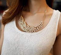 Wholesale GY New Elegant Imitation Pearl Hollowed Golden Choker Bib Collar Necklace