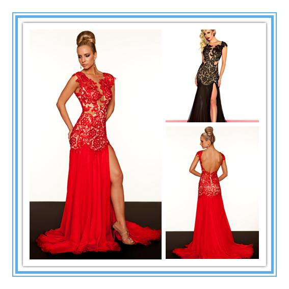 New Fashion Red Mermaid Tulle Backless Lace Evening Dress Prom ...