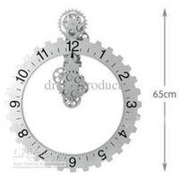 Mechanical plastic table clock - w Brand new Retro Modern Big gear wall clock Table Clock Art Clock Metal amp Plastic Clock Craft Clock