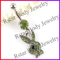 Wholesale Playboy Navel Rings Belly Button Rings Piercing Body Jewelry L Steel Crystal Gem Factory Price