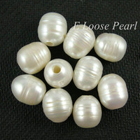 Wholesale Nugget Large Hole Freshwater Pearls Rice Shape White Loose Pearl mm Pieces mm Hole