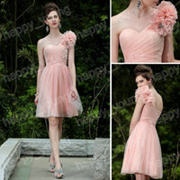 A-Line Sexy Handmade Flower Ravishingly Accented One-shoulder Handmade Flower Tulle Cocktail Dress 2013 Cheap