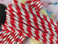 Wholesale Red Striped Paper Party Drinking Straws C