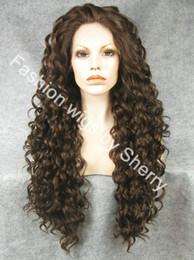 """Cheveux amicale à vendre-26 """"Extra Long # 6/8 Mix Brown Heat Friendly Lace avant synthétique cheveux perruque bouclés"""
