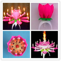Wholesale New Lotus Music Candles Lotus Petal Wedding Birthday party Flower Music Candle Lotus style