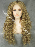 Wholesale 26 quot Extra Long HY Brown amp Blonde Mix Heat Friendly Lace Front Synthetic Hair Curly Wig