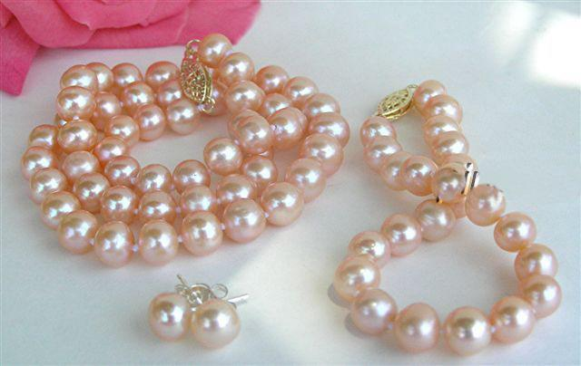 2017 Aa 14k 9mm Natural Pink Pearl Necklace Bracelet