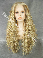 Wholesale 26 quot Extra Long Mix Blonde Heat Friendly Synthetic Hair Lace Front Curly Wig