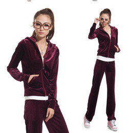 Wholesale The spring and autumn period and the ms velvet suit Hooded casual velvet suit