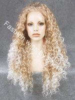 Wholesale 26 quot Extra Long HY Blonde Tip white Heat Friendly Synthetic Hair Lace Front Curly Wig