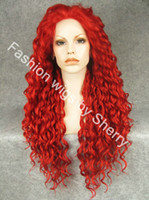 "African-American Wigs curly daily use 26"" Extra Long #3100 Red Curly Heat Friendly Synthetic Hair Lace Front Party Wig"