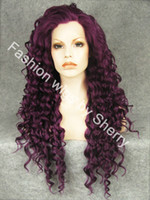 "African-American Wigs curly daily use 26"" Extra Long #3700 Purple Curly Heat Friendly Synthetic Hair Lace Front Party Wig"