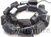 Agate   8SE09670a 17x25mm Black Tourmaline Rough beads DIY