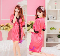 Wholesale 2014 Sexy Lingerie New Silk Robe Lace Rim Dress G String Set Sexy Sleepwear AAA