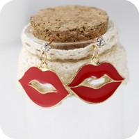 Women's earrings sexy - Women White Rhinestone Stud Earrings Sexy Big Lip Pendant Drop Earring Studs Jewelry pairs