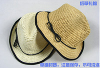 Wholesale 2013 New Spring Fashion Sexy Khaki Rolloff Straw Hat Sunscreen Beach Dress Accessory JAFS