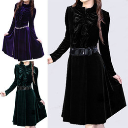 Wholesale Elegant Womens Retro Velvet Stand Collar Puff Sleeve Slim OL Skirts Dress
