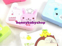 Wholesale 20pcs fashion cute lovely contact lens cases square contact lens box set high quality cartoon contac
