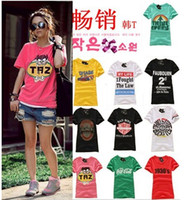 Wholesale Women s Girl Round Neck Short Sleeve Fashion Summer T Shirts Top Fashion Design