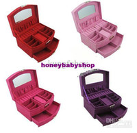 Wholesale 4Colors Ring Necklace Jewelry Display Storage Case Boxjewelry box cosmetic box of a wedding gift