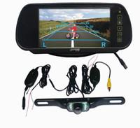 "Car Monitors & Cameras   7"" LCD Monitor Car Rear View Mirror Kit + Wireless 2.4GHZ Reverse reversing Camera free Shipping"