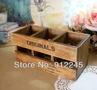 Wholesale Retro old wooden box Multifunction Office supplies Stationery Remote control case Wooden square box
