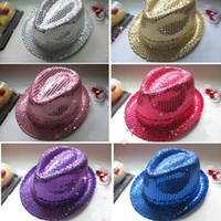 Wholesale FEDORA TRILBY HAT Cap Glitter Sequin Sequinned Dance Party Costume Hiphop Show