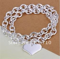 Wholesale 925 sterling silver jewelry blank heart tag pendant necklace nickelfree copper inch chains SMTN251