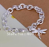 Wholesale 925 sterling silver jewelry bracelet dragonfly pendant bracelets top quality SMTH282