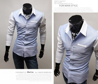 Wholesale Blue men s shirts minimalist oxford cotton men s Slim long sleeved shirt hit color