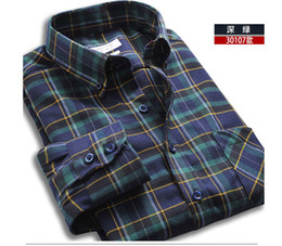 Wholesale Spring TOPOT men long sleeve shirt mens fashion casual wear wool grid multicolor optional