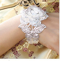 Wholesale 925 silver bracelet Wedding bride bracelet big roses hollow out the peony flower Open bracelets