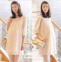 Wholesale NEW Fashion Big code Maternity Summer Lady lace collar of beads Maternity dress