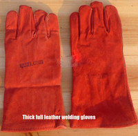 Wholesale Thick leather welding gloves leather heat resistant welding fire star insulation cut resistant glove