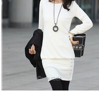 Wholesale Fashion Women s Top Elegant Slim dress Neck OL Long Black White M