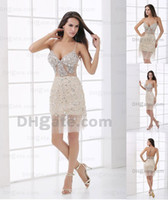 Wholesale 2013 Sexy Halter V Neck Cocktail Dresses Beaded Tulles Backless Knee Length Party Dresses DH00253