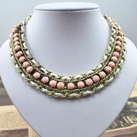 Wholesale European Trend Fashion Collar Alloy Chain Pure Hand woven Resin Beads Chunky Cheap Necklaces KC