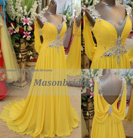 Wholesale 2014 Charming Amazing Swarovski Crystals Yellow Deep V Neck Chiffon Prom Party Dresses Evening Dresses With Open Back A Line Straps