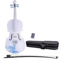 Wholesale 4 Acoustic Violin With Blue Decorative Pattern Case Bow Rosin DS