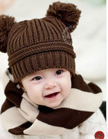 Wholesale New Fashion Korean Baby Love Dual Ball Girls Boys Wool Knit Sweater Cap Hat colors