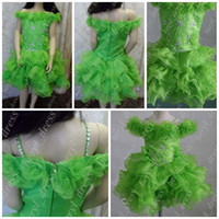 Wholesale 2013 Cute Little Girls Cupcake Dresses Short Pageant Flower Beaded Organza Party Dresses