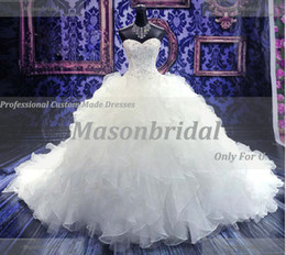 Wholesale Gorgeous Sweetheart Empire Waist Beading Pleat Royal Train Bridal Ball Gown Wedding Dresses