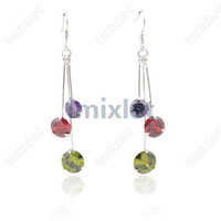 multicolor South American Women's Free Postage 1pair Fashion Crystal Silver Retro Water Drop Tassels Dangle Earrings Jewelry [CRR53E]