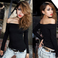 Women Cotton + Polyester Round New Sexy Charming Off-Shoulder Tight-Fitting T-Shirt Tops Blouses 3 Color