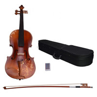 Wholesale 4 Acoustic Violin with Carved Pattern Case Bow Rosin DH Natural
